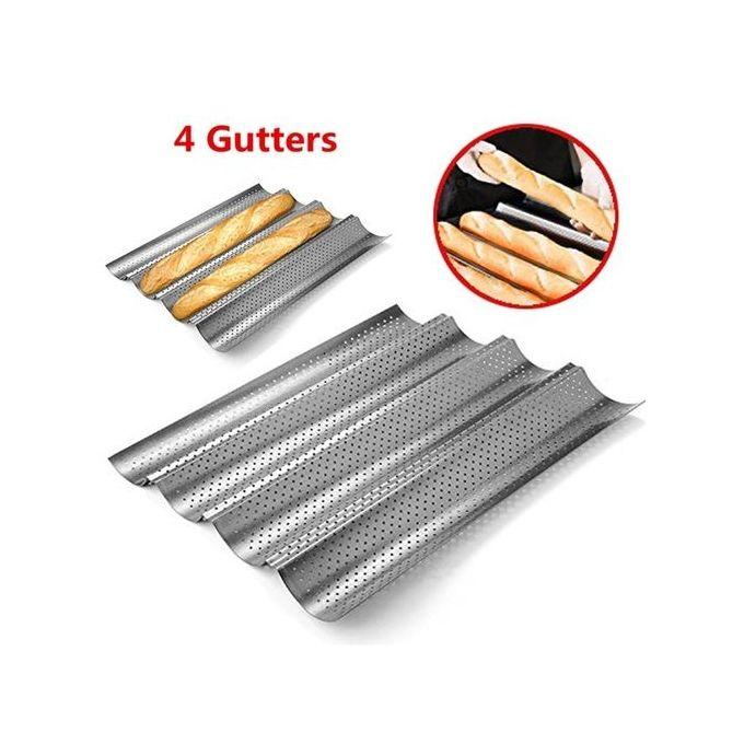 plaque moule de cuisson perfore 4 baguettes pain acier au charbon