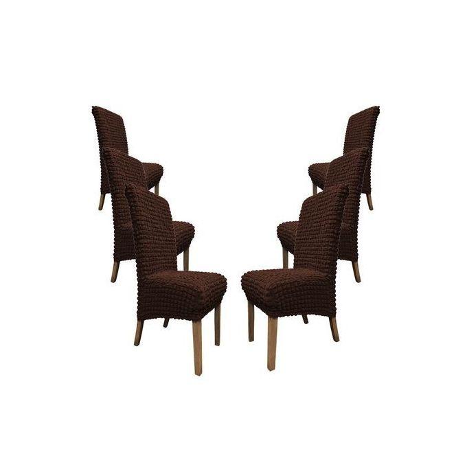 housse pour chaises 6 pieces marron