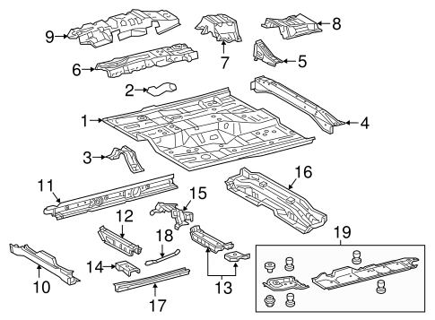 Genuine OEM Floor & Rails Parts for 2015 Toyota Camry