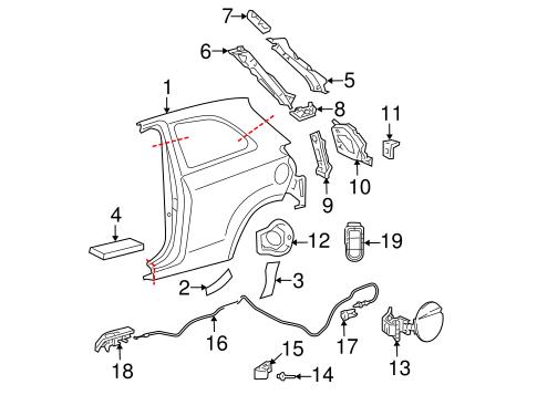 Genuine OEM Fuel Door Parts for 2009 Toyota Yaris S