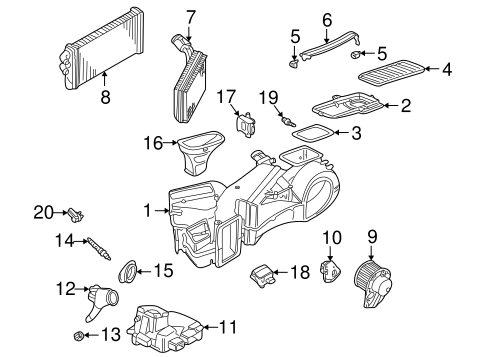 EVAPORATOR & HEATER COMPONENTS for 1998 Audi A4 Quattro