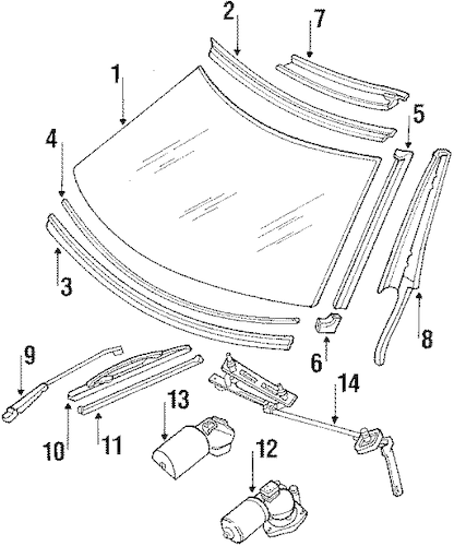 Wiper & Washer Components for 1989 Mercedes-Benz 560 SL