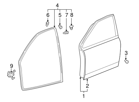 Genuine OEM Door & Components Parts for 2006 Scion xA Base