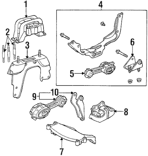 ENGINE & TRANS MOUNTING Parts for 2000 Saturn SL1