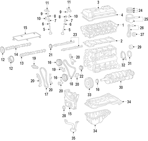 Genuine OEM Engine Parts for 2016 Toyota Tacoma SR5