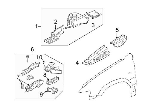 OEM 2005 Ford Escape Structural Components & Rails Parts