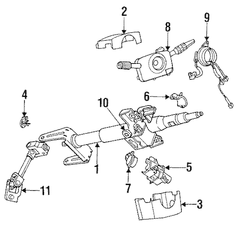 STEERING COLUMN ASSEMBLY for 1991 Saturn SL2