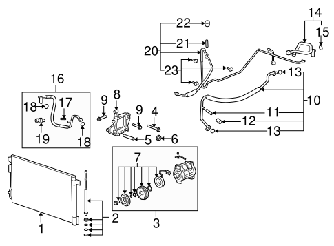 OEM 2010 Buick Enclave Condenser, Compressor & Lines Parts