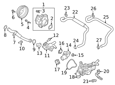 Genuine OEM Water Pump Parts For 2018 Mazda CX-5 Grand