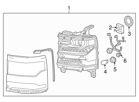 OEM 2017 Chevrolet Silverado 1500 Headlamp Components