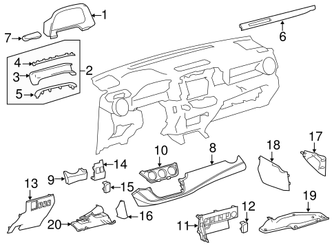 INSTRUMENT PANEL COMPONENTS for 2016 Toyota RAV4