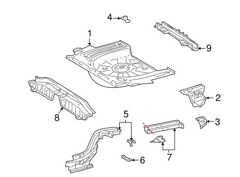 OEM 2004 Pontiac Vibe Rear Floor & Rails Parts