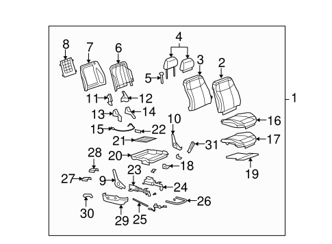 FRONT SEAT COMPONENTS Parts for 2008 Hummer H3