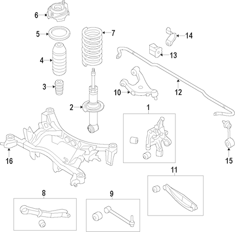 Genuine OEM Rear Suspension Parts for 2017 Toyota 86 Base