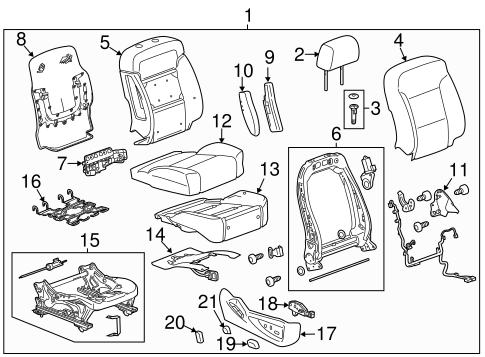 OEM 2015 Chevrolet Tahoe Passenger Seat Components Parts
