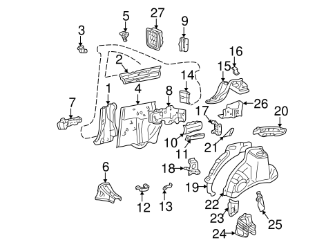Genuine OEM Inner Structure Parts for 2001 Toyota Solara
