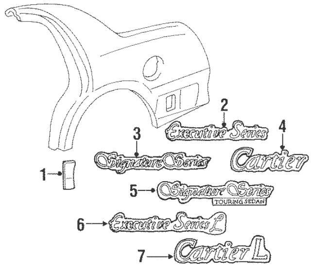 1998-2002 Lincoln Town Car Body Side Molding