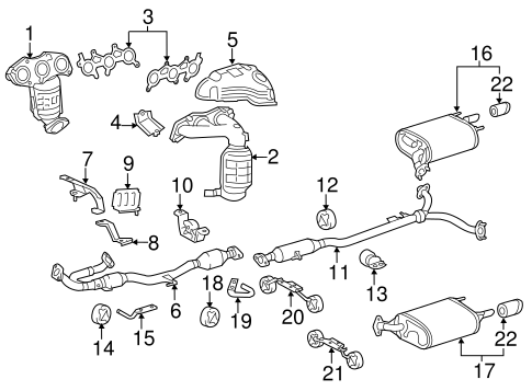 Genuine OEM Exhaust Components Parts for 2011 Toyota