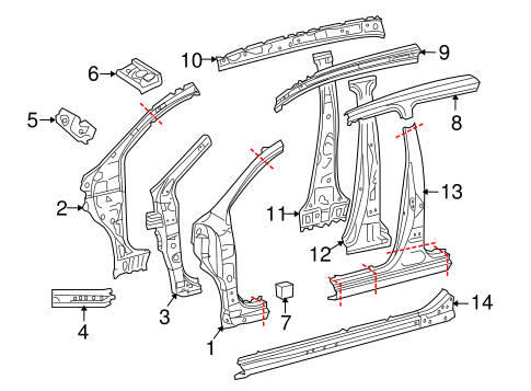 Genuine OEM Hinge Pillar Parts for 2011 Scion xD Base