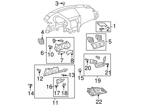 Instrument Panel Components for 2008 Toyota Highlander