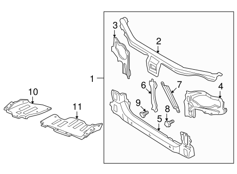 RADIATOR SUPPORT for 2000 Nissan Maxima