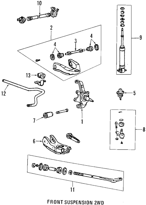 Genuine OEM SUSPENSION COMPONENTS Parts for 1997 Toyota