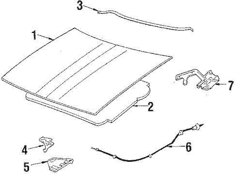 OEM 1986 Pontiac Sunbird Hood & Components Parts