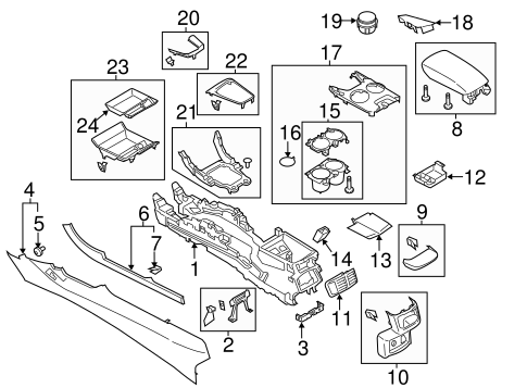Center Console Parts Diagram 2013 Ford Fusion • Wiring