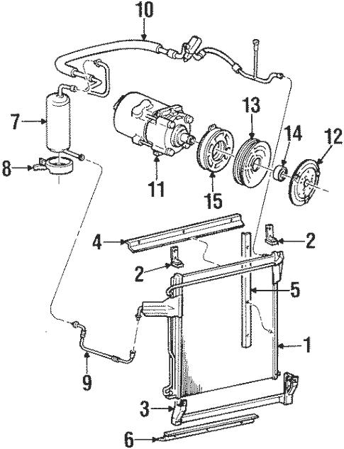 Condenser, Compressor & Lines for 2000 Mercury Mountaineer