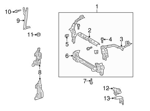 OEM 2009 Pontiac Vibe Radiator Support Parts