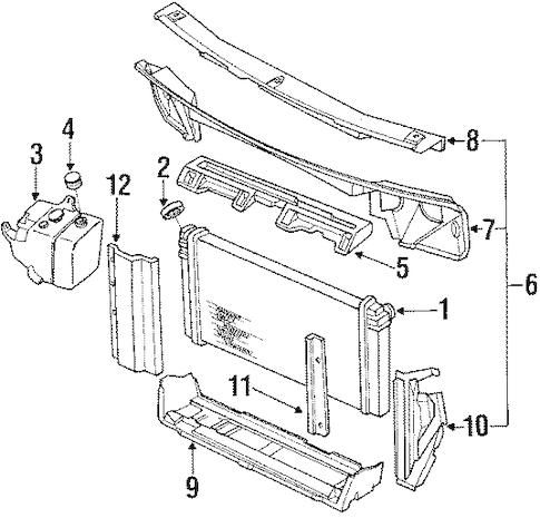 OEM 1990 Oldsmobile 98 Radiator & Components Parts