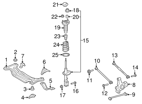 Genuine OEM Rear Suspension Parts for 2007 Toyota Camry LE