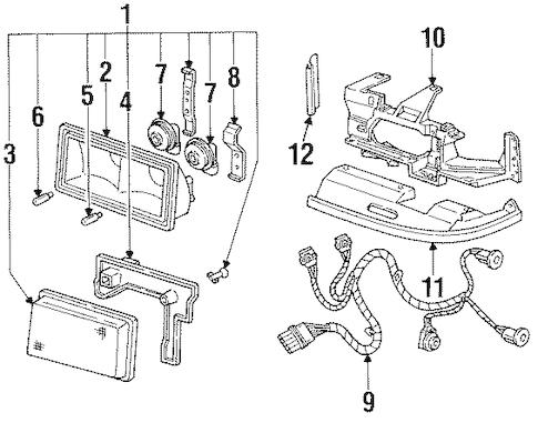 OEM 1995 Cadillac Eldorado Headlamp Components Parts