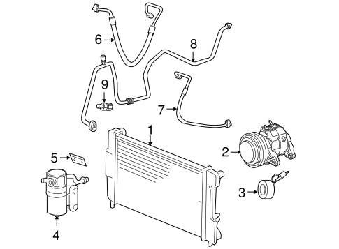 Condenser, Compressor & Lines for 2009 Dodge Dakota Parts