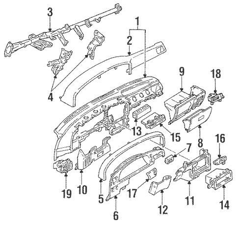 Genuine OEM Instrument Panel Parts for 1994 Toyota Pickup