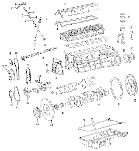 ENGINE PARTS for 1987 Mercedes-Benz 260E