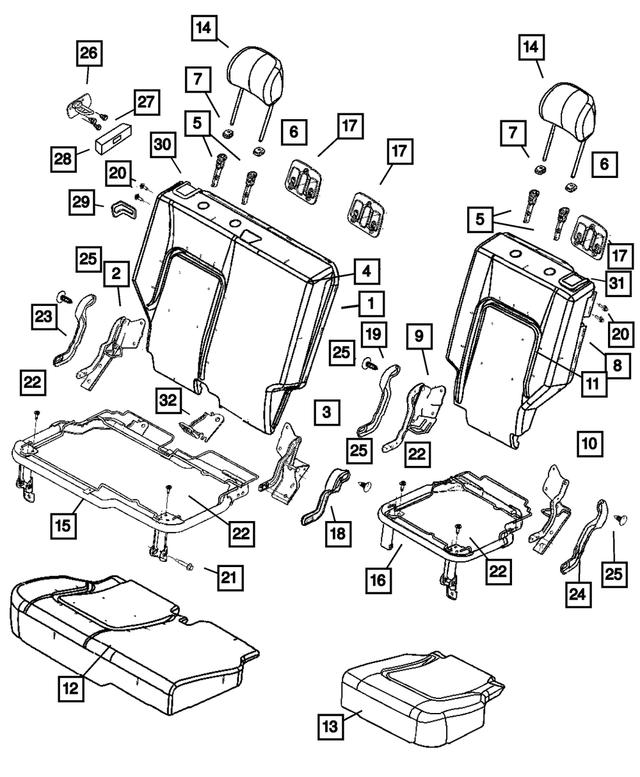 2002-2004 Jeep Liberty Headrest Adjuster Cap WA46-1DVAA