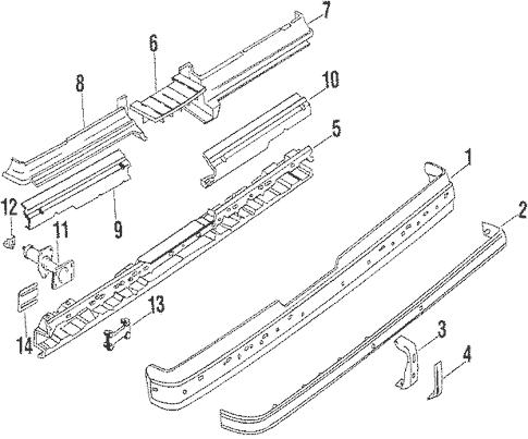 OEM 1986 Oldsmobile Cutlass Supreme Rear Bumper Parts