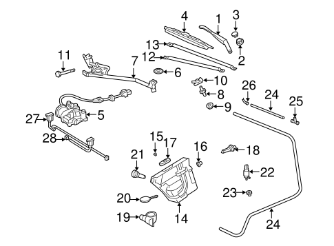 Wiper & Washer Components for 2006 Chrysler Crossfire