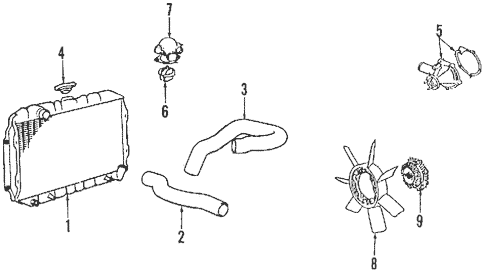 Radiator & Components for 1986 Mitsubishi Mighty Max Sport