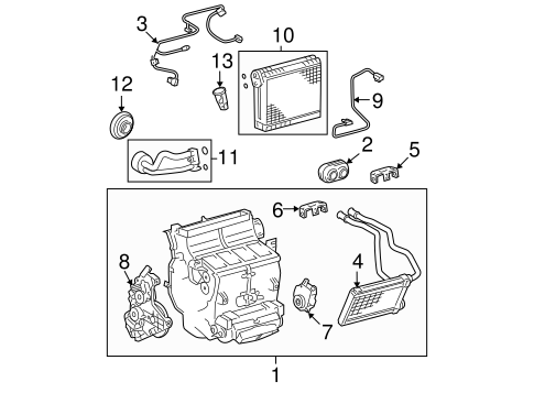 Genuine OEM Evaporator Components Parts for 2008 Toyota
