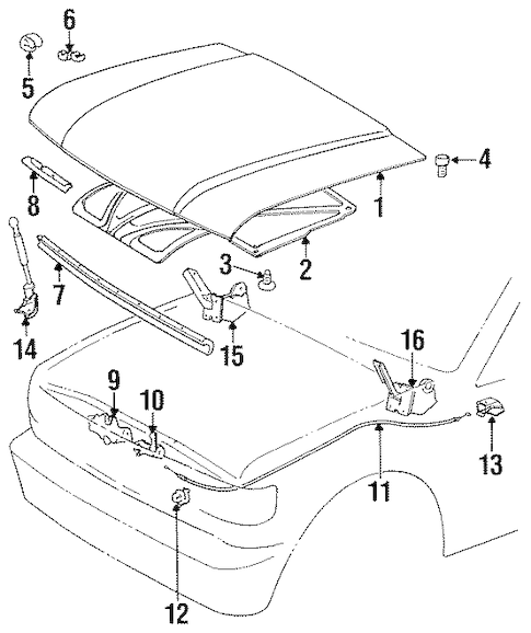 Genuine OEM HOOD & COMPONENTS Parts for 1997 Toyota Land