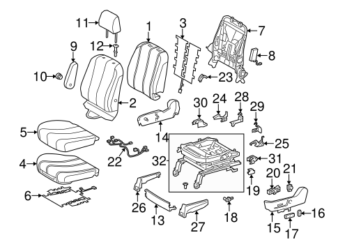 Genuine OEM Front Seat Components Parts for 2011 Toyota