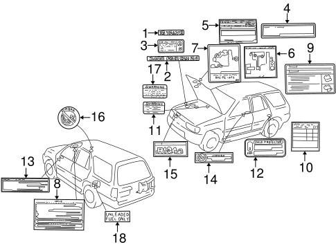 Genuine OEM Labels Parts for 2002 Toyota 4Runner SR5