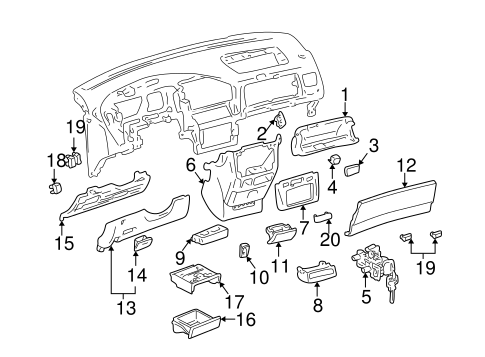 INSTRUMENT PANEL COMPONENTS for 1998 Toyota Sienna