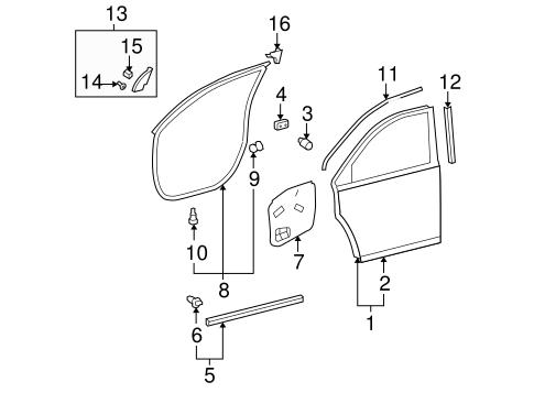 OEM Door Shell for 2013 Toyota Highlander|67001-0E090
