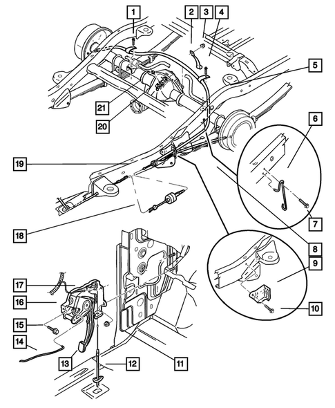 Parking Brake Lever and Cables for 2001 Dodge Durango