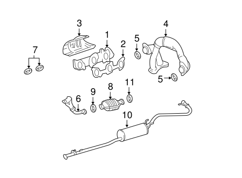 Genuine OEM Exhaust Manifold Parts for 1999 Toyota Tacoma