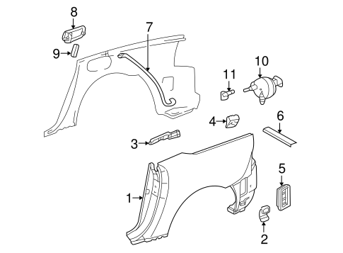 Quarter Panel & Components for 1999 Mercedes-Benz SLK 230