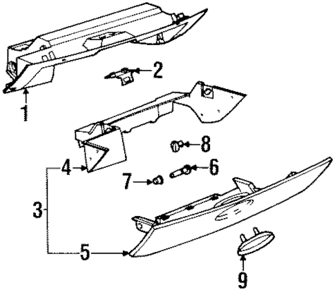 GLOVE BOX Parts for 1999 Saturn SC1